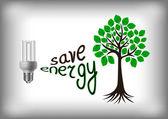 Energy saving bulb with green tree — Stock Vector