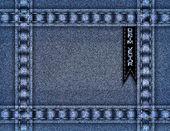 Blue denim frame — Stock Vector