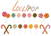 Lollipop and candy cane collection — Stock Vector
