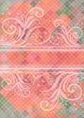 Abstract floral ornament with mosaic background — Vetor de Stock