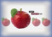 Veelhoekige appels met gestippelde achtergrond — Stockvector