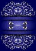 Scheda con ornamento floreale e banner — Vettoriale Stock