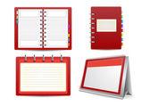 Datebook, calendar and organizer set — Stock Vector