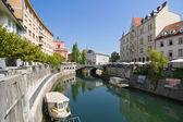 River Ljubljanica through Ljubljana — Stock Photo