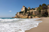 Beach and castle of Tamarit — Stock Photo