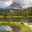 Lago Antorno and Tre Cime di Lavaredo — Stock Photo