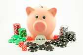 Piggy bank is the dealer — Stock Photo
