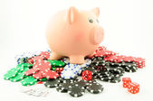 Gambling with savings — Stock Photo