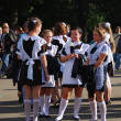 Many school girls in soviet school uniform — Stock Photo