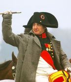 Napoleon greeting soldiers at Borodino 2012 historical reenactment — Stock Photo