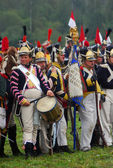 Many soldires with drums and flags at Borodino 2012 historical reenactment — Stock Photo