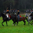 Soldiers riding horses at Borodino 2012 historical reenactment — Stockfoto