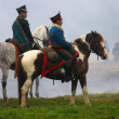 Soldiers riding horses at Borodino 2012 historical reenactment — Stock Photo