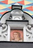 Pictogram op een kerk wit muur in trinity sergius lavra — Stockfoto
