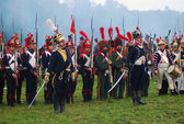 Soldiers holding bayonets. Borodino 2012 historical reenactment — Stock Photo