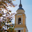 Beautiful yellow bell tower and autumn leaves. — Stock Photo