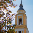 Beautiful yellow bell tower and autumn leaves. — Stock Photo #13193408