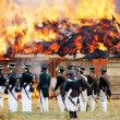 Постер, плакат: Soldiers dressed as Napoleonic war soldiers Borodino battle historical reenactment
