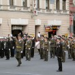 Military orchestra marching on the Nevskiy prospect. — Stock Photo