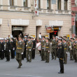 Military orchestrmarching on Nevskiy prospect. — Stock Photo #19525481