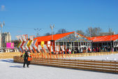 Ice-skating in the Gorky park in Moscow — Stock Photo
