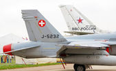 Russian and Swiss airplanes. — Stock Photo