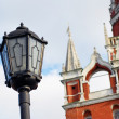Foto Stock: Vintage street light and Moscow Kremlin tower