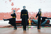 Guard of honour change by the Eternal flame war memorial. — Foto de Stock