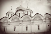 Arkhangel's church in winter. Moscow Kremlin. Vintage style sepia photo. — Stock Photo
