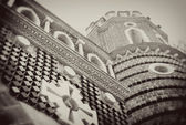 Architecture of Tsaritsyno park, Moscow. Vintage style sepia photo. — Stockfoto