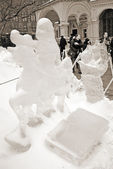 Ice Sculpture exhibition on the Red Square — Stock Photo