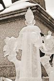 Exposición de esculturas de hielo en la plaza roja — Foto de Stock