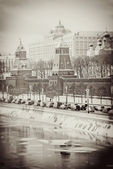 Moscow Kremlin in winter. Vintage stype sepia photo. — ストック写真