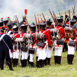 Soldiers dressed as Napoleonic war soldiers. Borodino battle historical reenactment. — Stock Photo #38916101