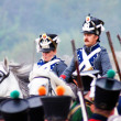 Soldiers dressed as Napoleonic war soldiers. Borodino battle historical reenactment. — Stock Photo #38916111