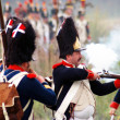 Soldiers dressed as Napoleonic war soldiers. Borodino battle historical reenactment. — Stock Photo #38916131