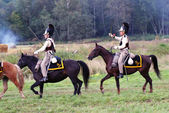 Soldiers dressed as Napoleonic war soldiers. Borodino battle historical reenactment. — Stock Photo