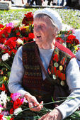 Portrait of a war veteran woman. — Stock Photo