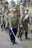 Portrait of reenactors dressed as soldiers. Osovets battle reenactment — Stock Photo