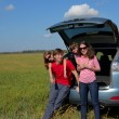 Family car trip on summer vacation - Stock Photo