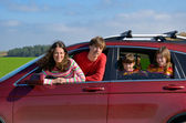 Family car trip on vacation — Stock Photo