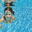Stock Photo: Happy smiling underwater child in swimming pool