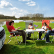 Family vacation in camping, motorhome trip - Lizenzfreies Foto