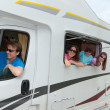 Family vacation, travel by camper — Stock Photo