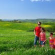 Happy family with children having fun outdoors, holidays in Italy  — Stock Photo