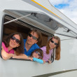 Stock Photo: Family vacation, RV (camper) travel with kids
