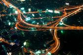 Roads in city of Bangkok at night — Stock Photo