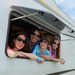 Family vacation, RV (motorhome) travel with kids — Stock Photo #31557657
