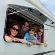 Stock Photo: Family vacation, RV (motorhome) travel with kids