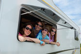 Family vacation, RV (motorhome) travel with kids — Stock Photo